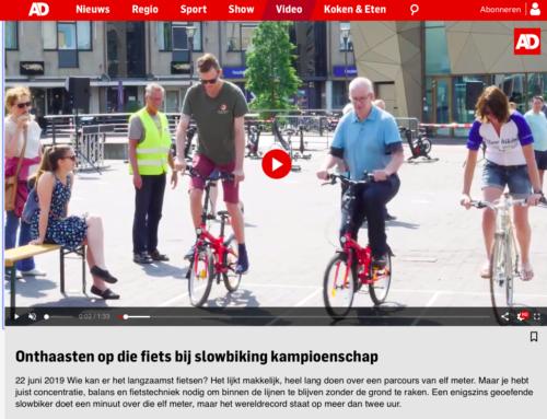 Het AD kwam langs bij de Open NK Slowbiking voorronde in Houten.